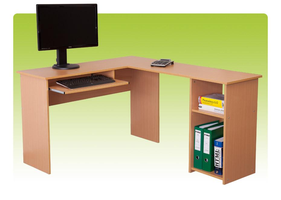 winkelkombination ecktisch computertisch schreibtisch buche ebay. Black Bedroom Furniture Sets. Home Design Ideas
