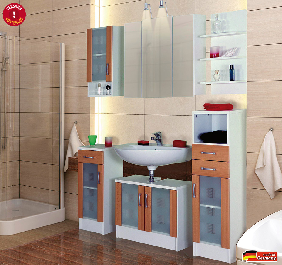 badezimmer nizza komplett bad set badset badm bel buche ebay. Black Bedroom Furniture Sets. Home Design Ideas