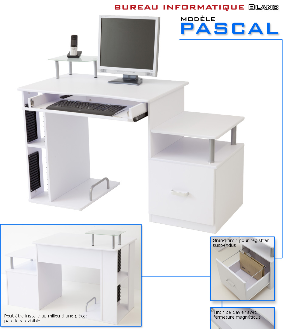 bureau informatique de luxe pascal blanc ebay. Black Bedroom Furniture Sets. Home Design Ideas