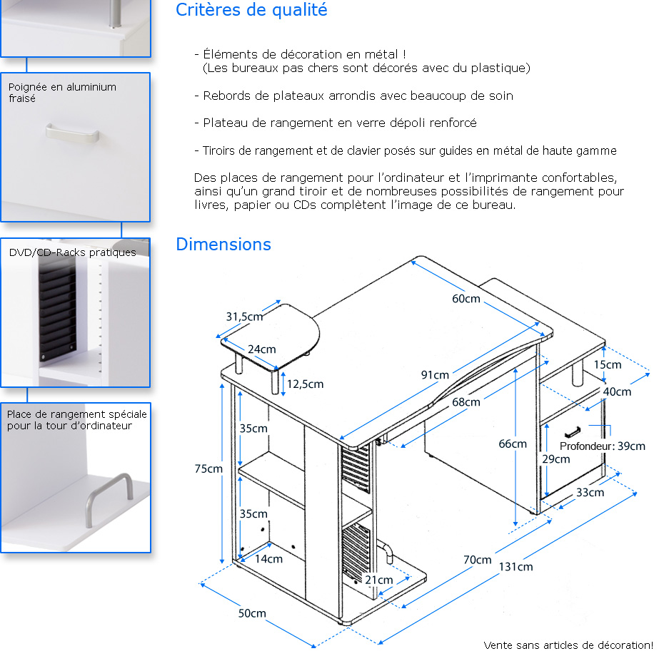 bureau informatique de luxe pascal blanc ebay. Black Bedroom Furniture Sets. Home Design Ideas