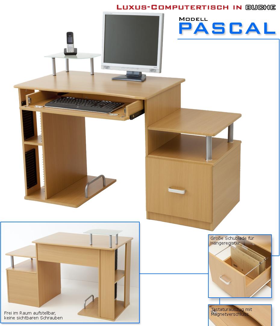 Luxus computertisch schreibtisch tisch pascal buche ebay for Computertisch in buche