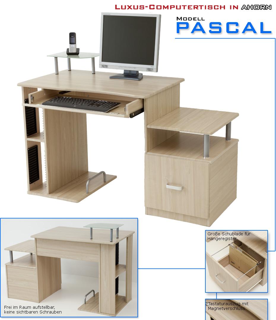 Luxus computertisch schreibtisch tisch pascal ahorn ebay for Pc tisch ahorn
