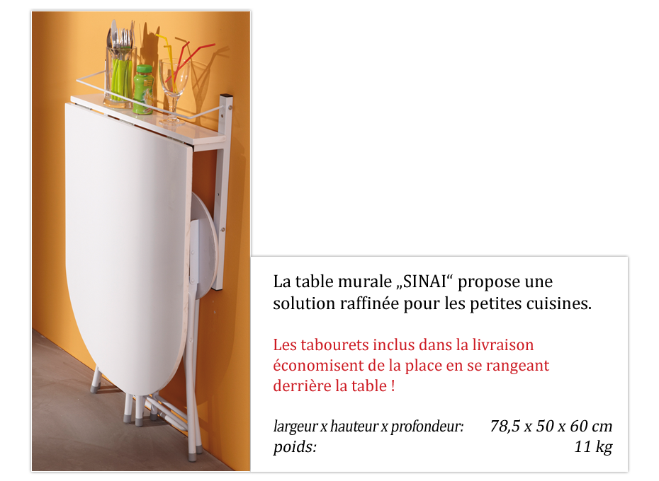 Table de cuisine murable et pliable blanche sinai ebay for Table de cuisine pliable