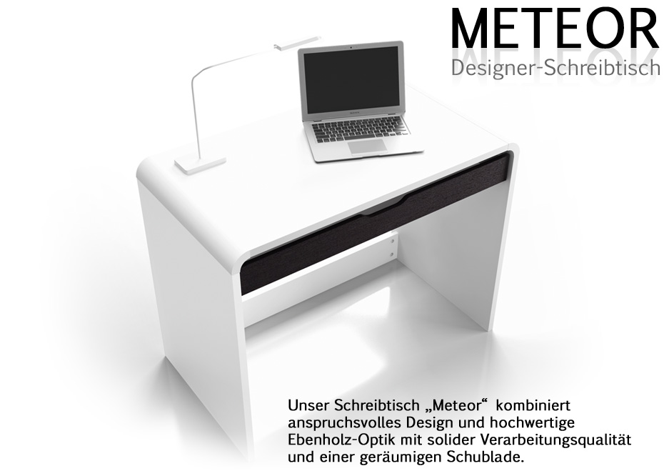 designer schreibtisch computertisch meteor weiss ebay. Black Bedroom Furniture Sets. Home Design Ideas