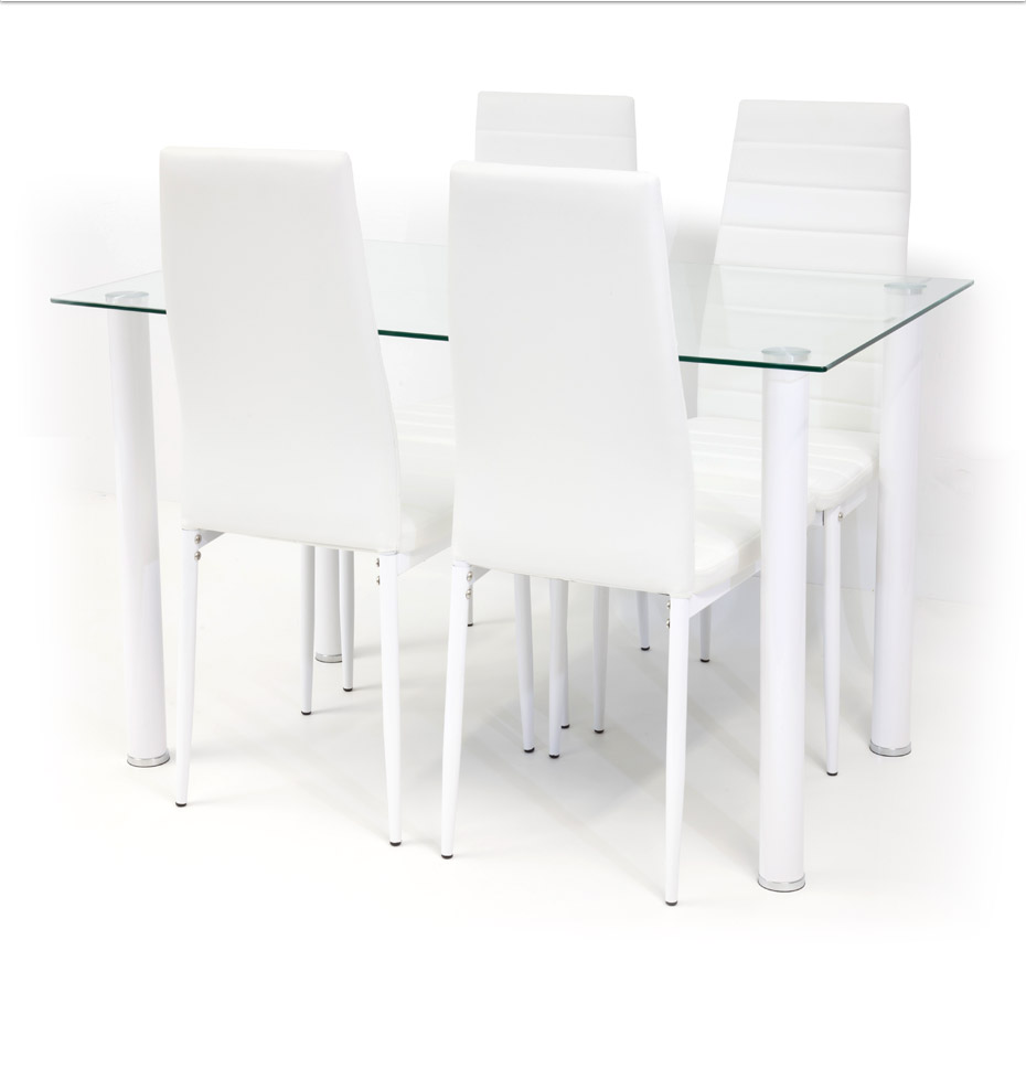 tischgruppe glastisch torino klarglas mit 4 x stuhl milano weiss ebay. Black Bedroom Furniture Sets. Home Design Ideas