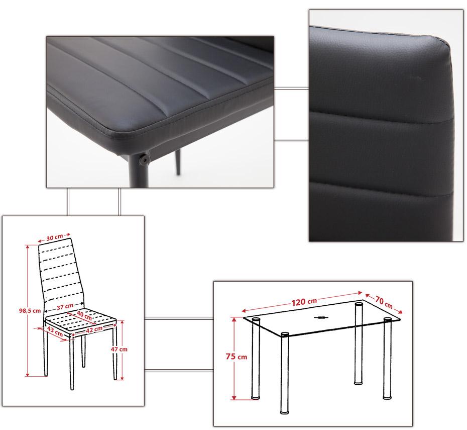albatros tischgruppe glastisch torino schwarzglas mit 4 x stuhl milano schwarz esstische. Black Bedroom Furniture Sets. Home Design Ideas