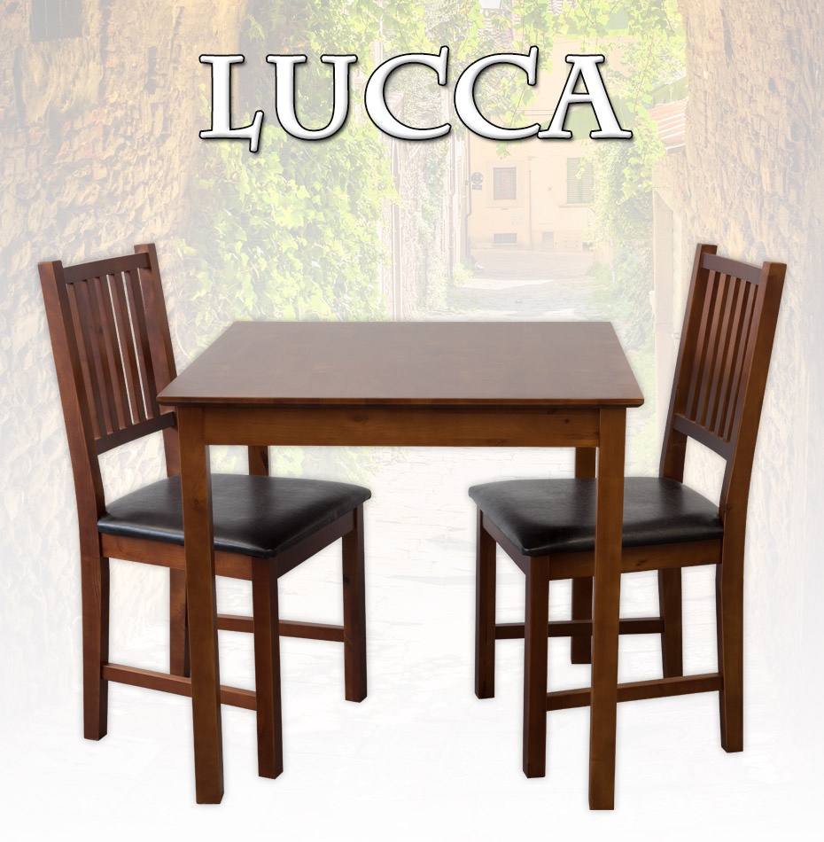 tischgruppe tisch lucca esstisch 2 st hle massiv nussbaum essgruppe ebay. Black Bedroom Furniture Sets. Home Design Ideas