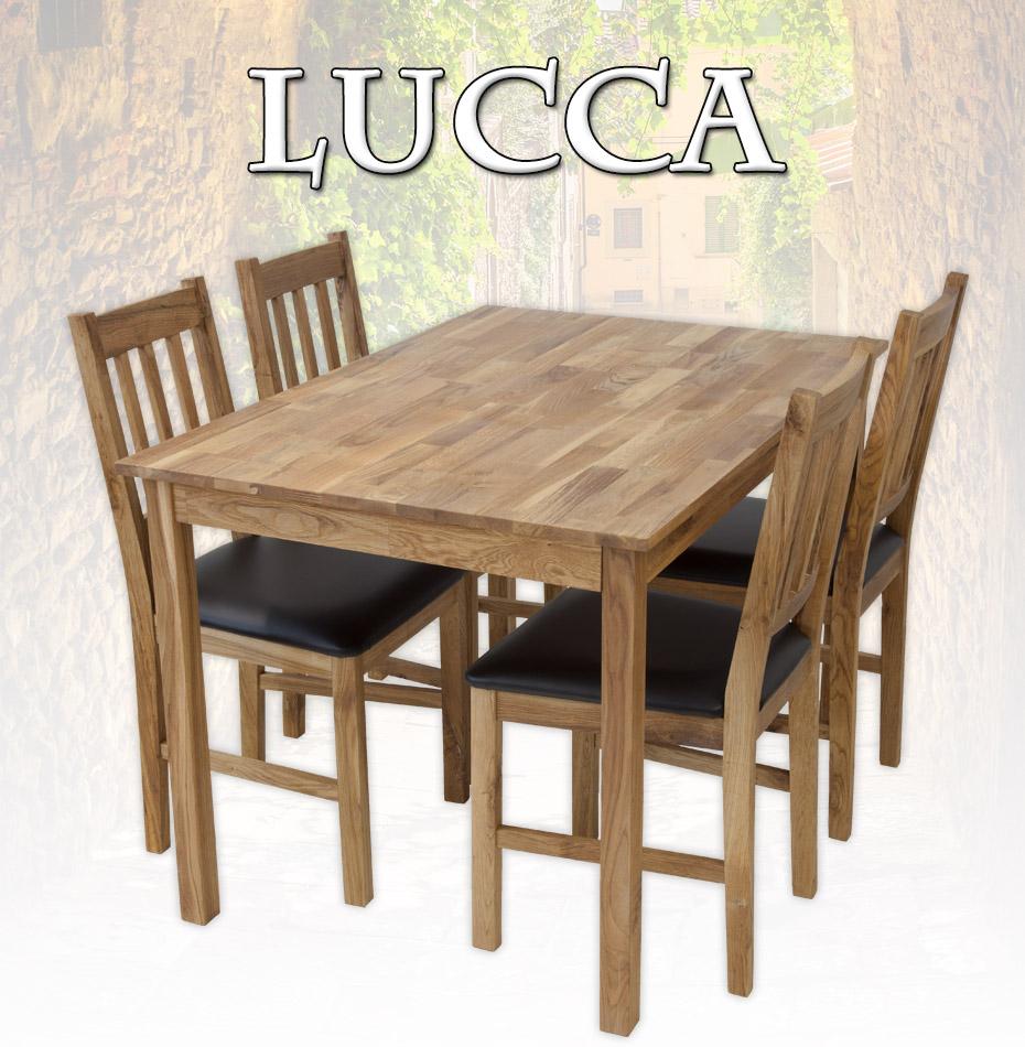 tischgruppe lucca tisch 120 x 80cm 4 st hle eiche massiv esstisch gastro ebay. Black Bedroom Furniture Sets. Home Design Ideas