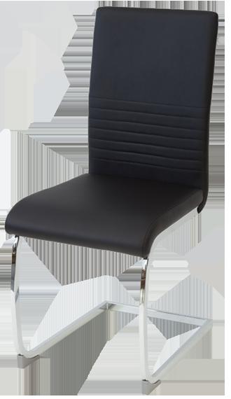 esszimmerst hle burano 4er set schwarz freischwinger schwing stuhl leder chrom ebay. Black Bedroom Furniture Sets. Home Design Ideas