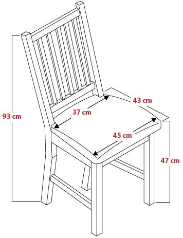 Skizze und Maße vom Stuhl