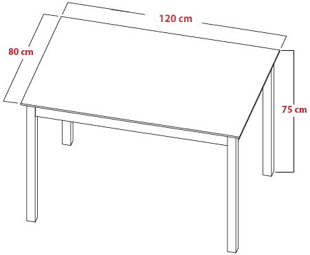 Skizze und Maße vom Tisch